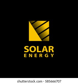 Abstract square sun logo on a black background. Solar energy symbol for the brand. Eco energy emblem.
