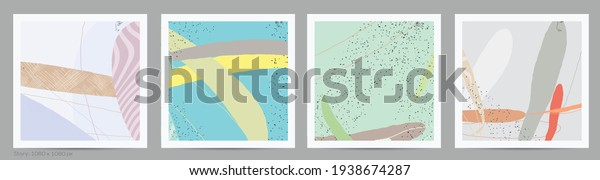 Abstract square template with lines and overlapping paint blobs. Contemporary simple composition. Modern art design. Natural color textured with spots and lines. Matte colors.