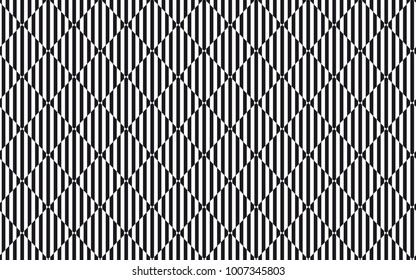 Abstract squares seamless pattern. Stroke vector background. optic illusion wave effect. Black and white colors
