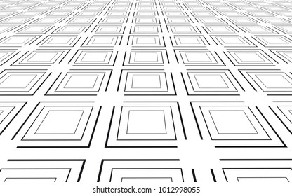 Abstract squares seamless pattern. Stroke vector background. optic illusion perspective effect