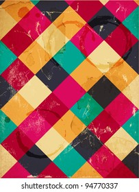 Abstract squary colorful retro background