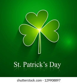 abstract st patrick day shiny single leaf vector design