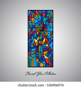 Abstract stained glass decorative pattern colored mosaic