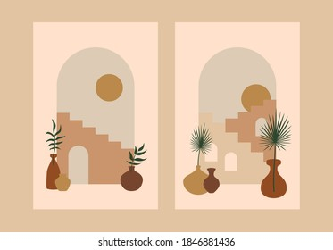 Abstract stairs plants posters. Architecture cards contemporary boho design, art print minimal wall decor, vector geometric cityscape.