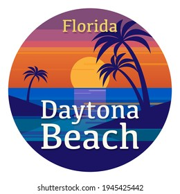 Abstract stamp or emblem with the name of Daytona Beach, Florida, United States, vector illustration