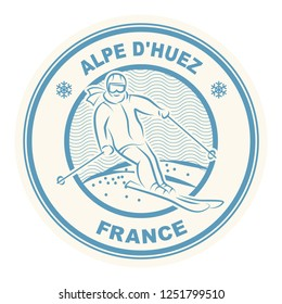 Abstract stamp or emblem with the name of town Alpe Dhuez ski resort stamp in France, vector illustration