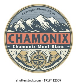Abstract stamp or emblem with the name of town Chamonix, France, vector illustration
