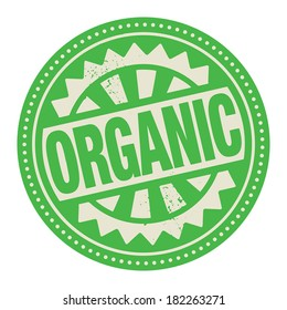 Abstract stamp or label with the text Organic written inside, vector illustration