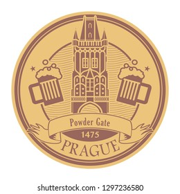 Abstract Stamp with the name of Prague, Czech Republic, Powder Gate written inside the stamp, vector illustration