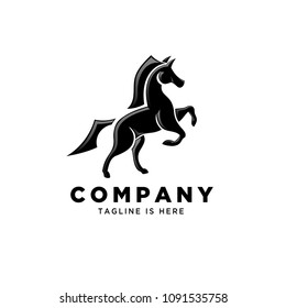 Abstract standing horse logo