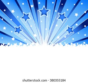 Abstract star burst background. Halftone  blue vector background. Template frame for greeting cards, invitations, gift, banners