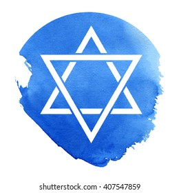 Abstract star of David watercolor background