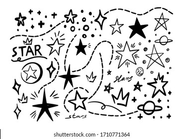 Abstract star line doodle. Hand drawn scribble stars shape elements and lines. Cartoon marker sketch for text emphasis on white background. Underline pen graphic and highlight sketch in graffiti style