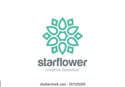 Abstract Star Linear Shape Logo design vector template. Flower Logotype concept outline icon.
