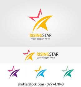 Abstract star logo template (rising star). Star vector logo design branding corporate identity. Simple modern star vector .