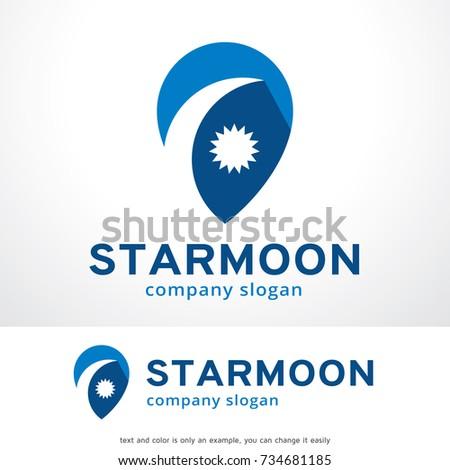 Abstract star moon logo template design stock vector royalty free abstract star and moon logo template design vector emblem design concept creative symbol maxwellsz