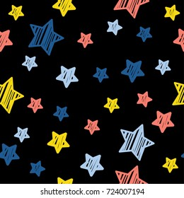 Abstract star seamless pattern background. Childish handcrafted wallpaper for design card, wallpaper, album, scrapbook, holiday wrapping paper, textile fabric, bag print, t shirt etc.
