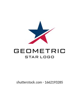 abstract star symbol line art style logo design vector template