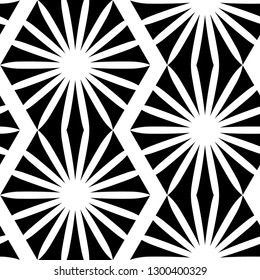 abstract starburst zigzag black and white seamless pattern