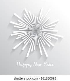 Abstract starry fireworks. Happy New Year celebration. Vector illustration.