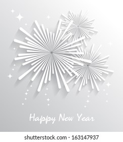 Abstract starry fireworks. Happy New Year. Vector illustration.