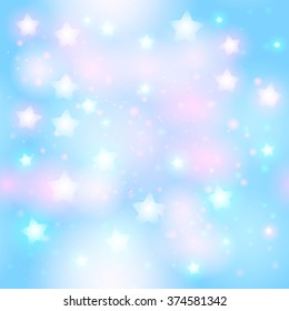 Abstract starry seamless pattern with neon star on bright pink and light blue background. Galaxy Night sky with stars. Vector