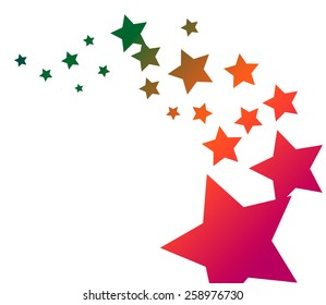 Abstract Stars with Flowing Colors and White Backgrounds