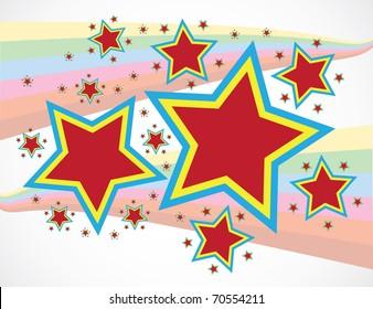 Abstract stars on rainbow stripes background - illustration