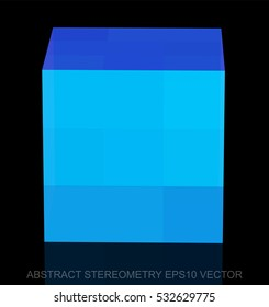 Abstract stereometry: low poly Blue Cube. 3D polygonal object, EPS 10, vector illustration.