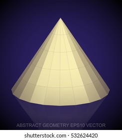 Abstract stereometry: low poly Yellow Cone. 3D polygonal object, EPS 10, vector illustration.
