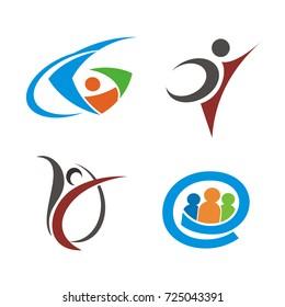 Abstract stick figure logo design template vector