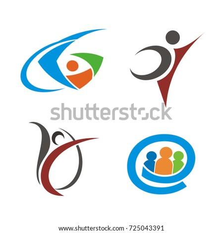 abstract stick figure logo design template stock vector royalty