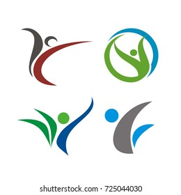 Abstract stick happy healthy figure logo design template vector