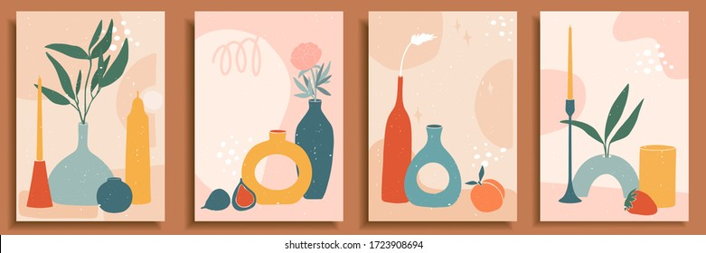 Abstract still life in pastel colors. Collection of contemporary art. Abstract paper cut elements, fruits for social media, posters, postcards, print. Hand drawn vase, candle, leaves, flowers, fruits.
