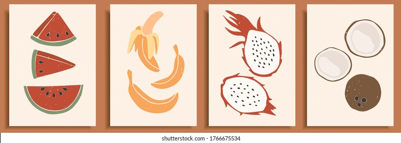 Abstract still life in pastel colors poster. Collection of contemporary art. Abstract elements, tropical fruits for social media, postcards, print. Hand drawn watermelon, banana, dragon fruit, coconut