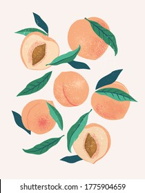 Abstract still life in pastel colors poster. Collection of contemporary art. Abstract paper cut elements, fruits for social media, postcards, print. Hand drawn peach.