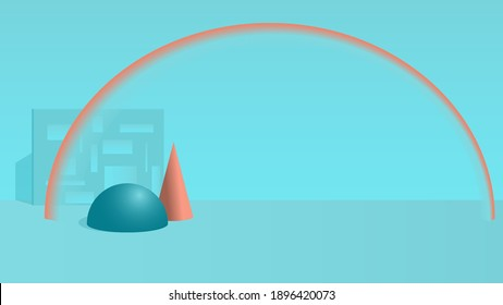 Abstract still life with simple geometric shapes on a green background. Place for text, vector illustration