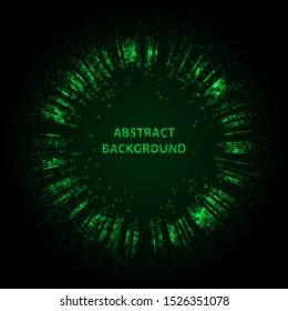 Abstract stipple background. Green Luminous circles. Aquamarine elegant glowing circle.  Green light ring. Virid sparking particles. Colorful ellipse. Bright border.