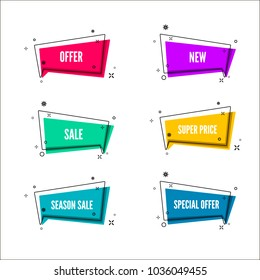 Abstract store offer banners.  Colorful bubble with promotion text. Set of geometric promo template. Vector illustration isolated on white background