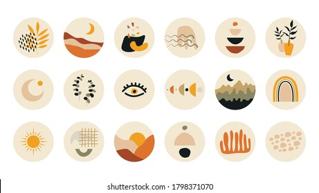 Abstract story highlight cover. Hand drawn shapes doodle set boho contemporary style. Vector round social media stories for bloggers.