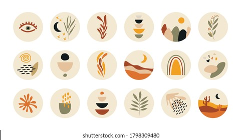 Abstract story highlight cover. Social media stories round icons, art design for blog contemporary boho style. Vector illustration.