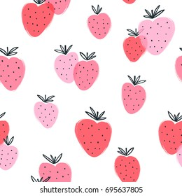Abstract strawberry doodle seamless pattern