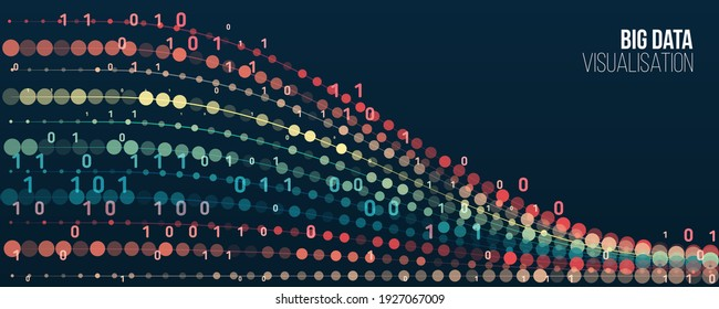Abstract stream information with ball array and binary code. Filtering machine algorithms. Sorting data. Vector technology background. Big data visualization. Information analytics concept.