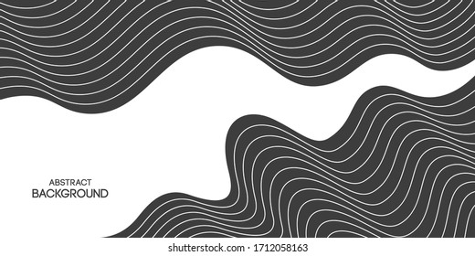 Abstract striped background, poster, banner. Composition of smooth dynamic waves, lines. Trendy design. Vector monochrome illustration in flat style.