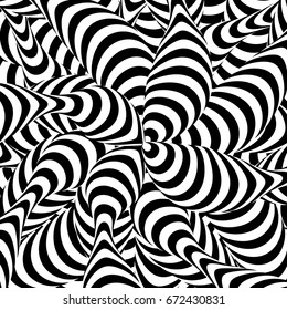 Abstract Striped Background. Spiral Vortex Phenomenon. Black And White Hypnosis, Rays. Optical Art Illustration
