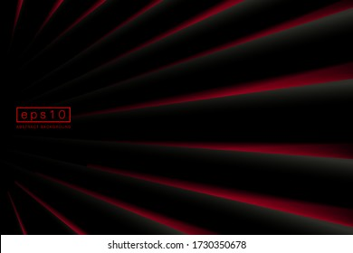Abstract striped diagonal lines pattern on black background with red shapes perspective. Vector illustration