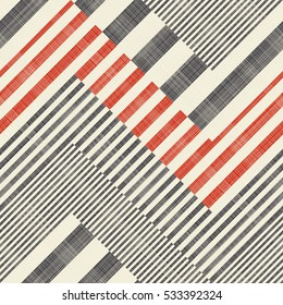 Abstract striped geometric seamless pattern on texture background in retro colors. Endless pattern can be used for ceramic tile, wallpaper, linoleum, textile, web page background