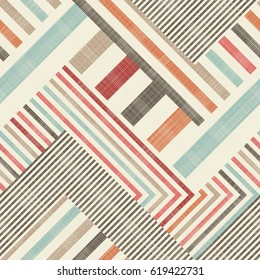 Abstract striped  seamless pattern on texture background in retro colors. Endless colorful geometric pattern can be used for ceramic tile, wallpaper, linoleum, textile, web page background