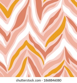 Abstract striped seamless pattern  simulating zebra skin. Zoo endless texture in pink colors. Vector illustration for fabric design.