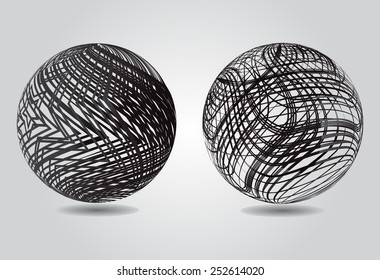 Abstract striped spheres.Vector globe design.